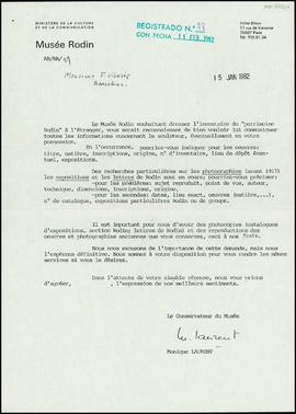 Carta de Monique Laurent, conservadora, a Frederic Marès
