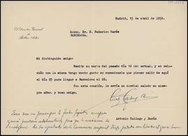 Carta d'Antonio Gallego i Burín, director general, a Frederic Marès
