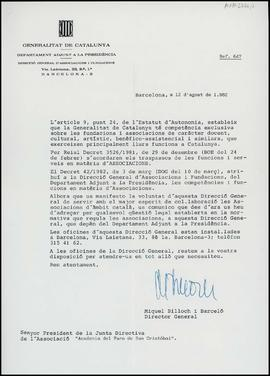 Carta de Miquel Billoch i Barceló, director general, a Frederic Marès