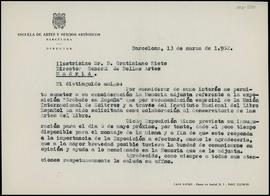 Carta de Frederic Marès a Gratiniano Nieto Gallo, director general