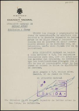 Carta de Gratiniano Nieto Gallo, director general, a Frederic Marès