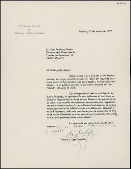 Carta de Antonio Lago Carballo, director general, a Frederic Marès